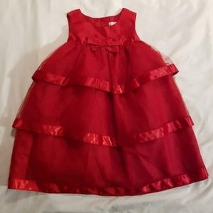 Red tulle layered party dress 2T